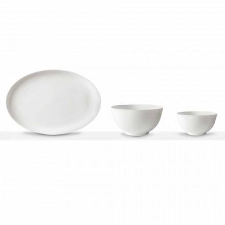 Plato y Cuenco Ovalado de Porcelana Blanca 10 Piezas - Romilda