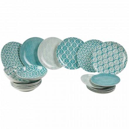 Servicio de mesa completo en porcelana de colores 18 piezas - Indonesia