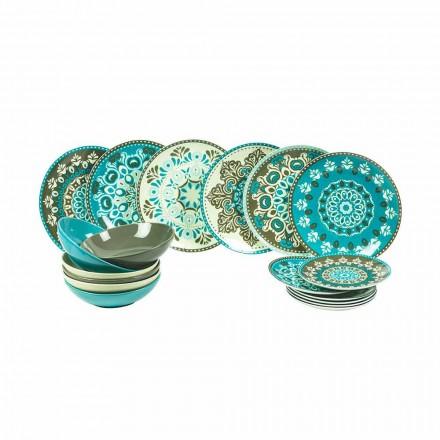 Vajilla de porcelana color azul, 18 piezas - Eivissa