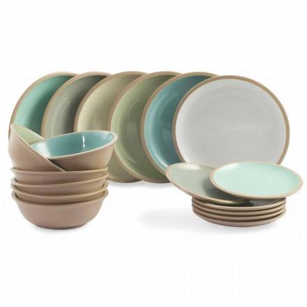 Vajilla Set Platos de colores Diseño completo de 18 piezas - Osteria