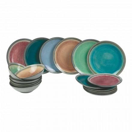 Servicio de mesa platos en gres moderno de color completa 18 piezas - Nassau