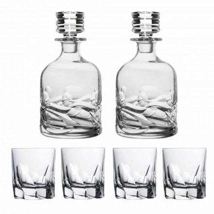 Juego de whisky 2 botellas y 4 vasos de cristal decorado - Titanio