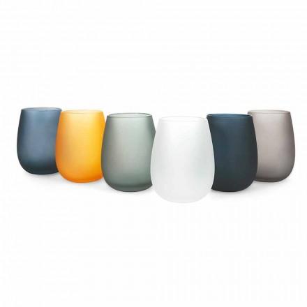 Juego de vasos de agua de vidrio coloreado moderno, 12 piezas - Borde