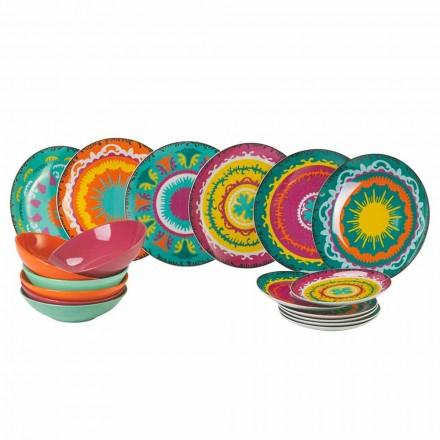 Juego de Platos de Porcelana Coloreada y Gres Moderno 18 Piezas - Maracaibo