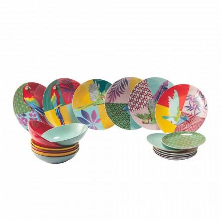 Servicio de vajilla de porcelana y gres de diseño coloreado de 18 piezas - Tropycale