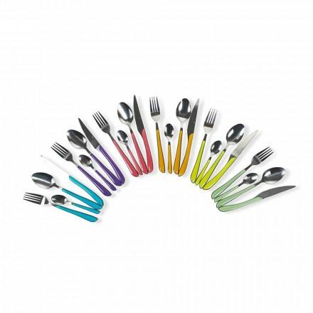 Servicio de Cubiertos de Colores 24 Piezas en Diseño de Acero y Plástico - Argelia