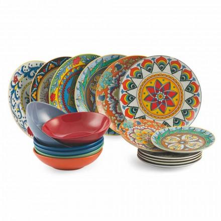 Juego de platos de cena de 18 piezas de porcelana y gres - Renacimiento