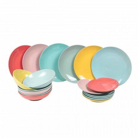 Servicio de mesa Vajilla moderna de colores 18 piezas Gres - Miami
