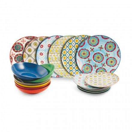 Conjunto de placas de colores étnicos modernos en porcelana y gres 18 piezas - Estambul