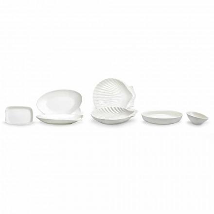 Set de platos de porcelana blanca, 30 piezas - Nalah