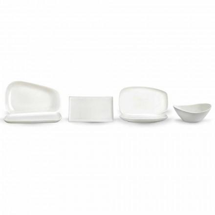 Servicio de cena o platos de porcelana blanca - Nalah