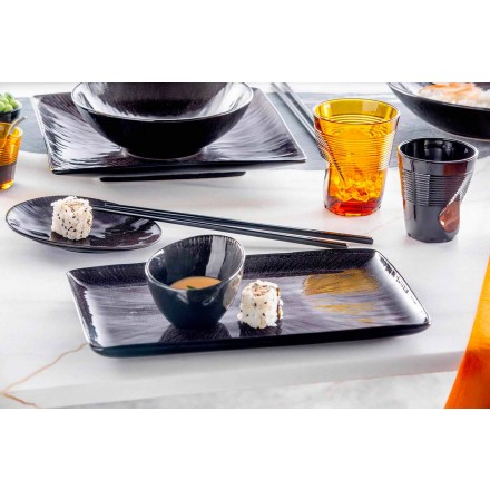 Vajilla Set 28 piezas de diseño moderno de porcelana negra completa - Skar