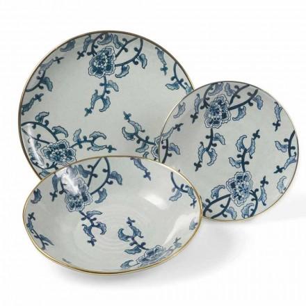 Juego de vajilla en porcelana azul y blanca moderna 18 piezas - Kyushu