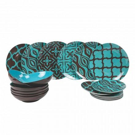 Juego de Vajilla Porcelana de Porcelana de Colores Moderna 18 Piezas - Timesquare