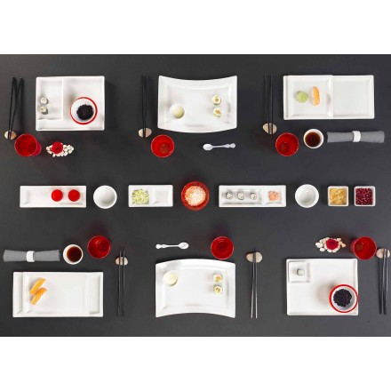 Set Platos Diseño Moderno Porcelana Rectangular 25 Piezas - Melbourne