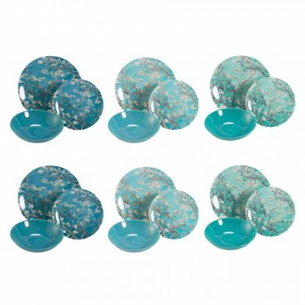 Juego de vajilla moderno azul o rojo en gres y porcelana nueva, 18 piezas - Nagoya