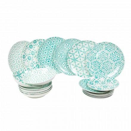 Vajilla moderna de porcelana azul claro o azul 18 piezas - Avion