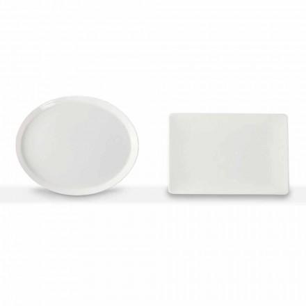 Juego de Platos Llanos Diseño Ovalado y Rectangular 3 Piezas en Porcelana - Egle