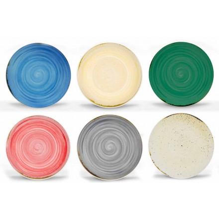 Plato llano moderno de 18 piezas de porcelana coloreada - Rurolo