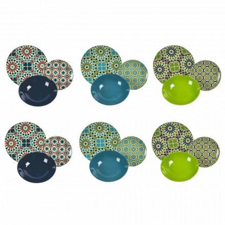 Vajilla de Servicio de Mesa de Porcelana y Gres Moderno de Colores 18 Piezas - Graneros