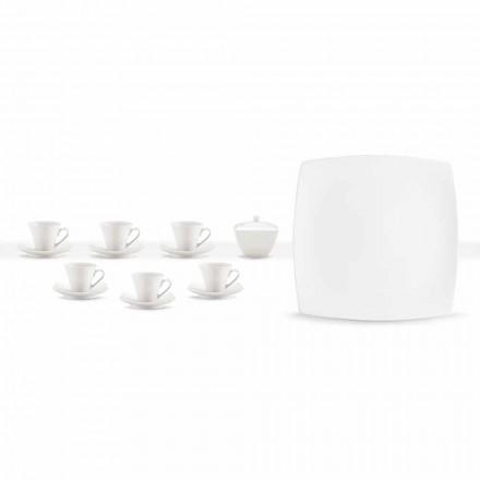 Servicio de tazas de café de porcelana blanca Diseño moderno 8 piezas - Duomo