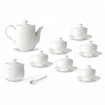 Juego de tazas de té de porcelana blanca 21 piezas con tapa - Samantha