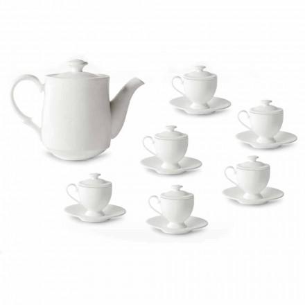 Servicio de Tazas de Café con Pie y Tapa 19 Piezas en Porcelana - Armanda