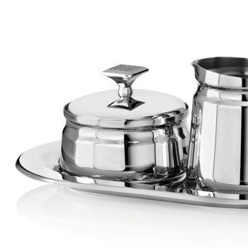 Azucarero de metal plateado de lujo y servicio de jarra de leche con purpurina - Sbrillo