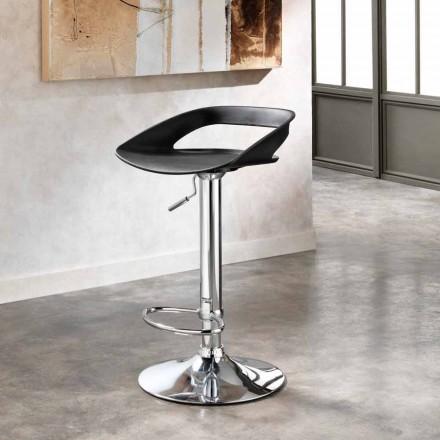 Set 2 taburetes modernos de metal cromado y pvc modelo Aldo