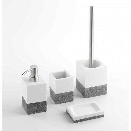 Conjunto de accesorios de baño de diseño en resina blanca y gris - Saeda