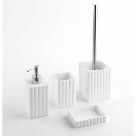 Conjunto de accesorios de baño modernos en resina blanca o arena - Perlas