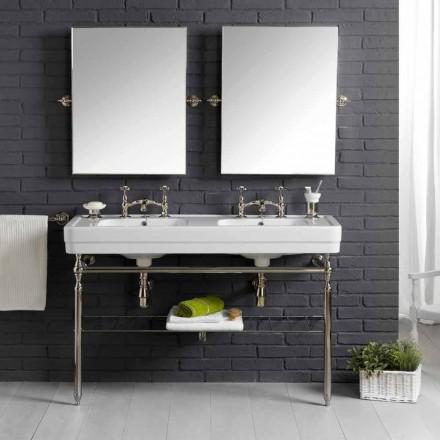 Set de baño con doble consola en cerámica blanca de estructura lineal