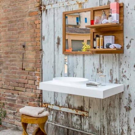 Conjunto de muebles de baño de superficie sólida Brusson de diseño moderno.