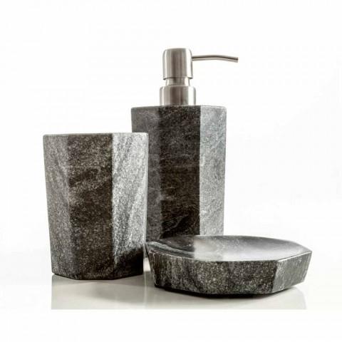 Conjunto de modernos accesorios de baño en mármol gris veteado de Montafia.