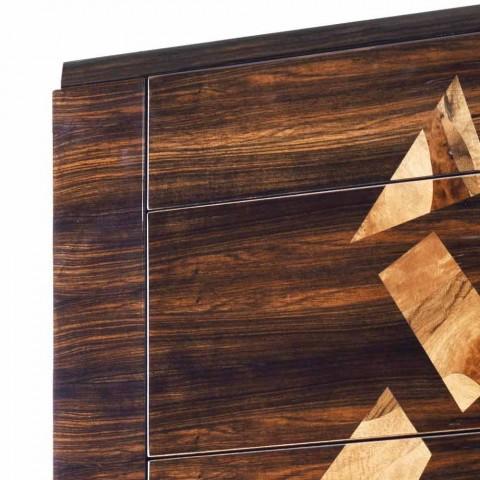 Cama de madera de ébano de diseño Grano Zarafa hecha en Italia