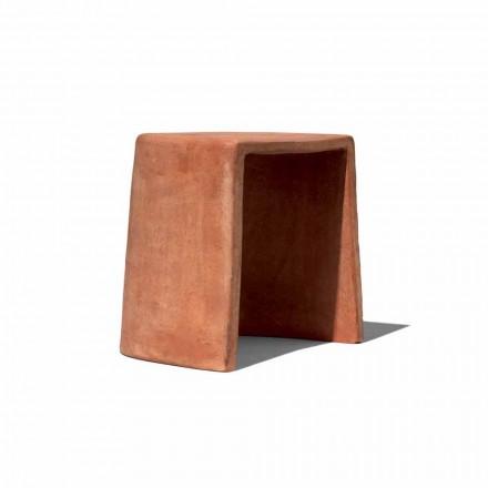 Taburete bajo para exterior hecho a mano en terracota Made in Italy - Julio