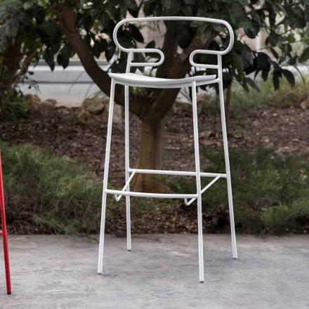 Taburete de exterior en metal pintado y poliuretano Made in Italy - Trosa