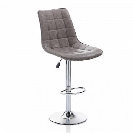 Taburete de diseño con asiento de polipiel y estructura cromada, 2 piezas - Chiotta