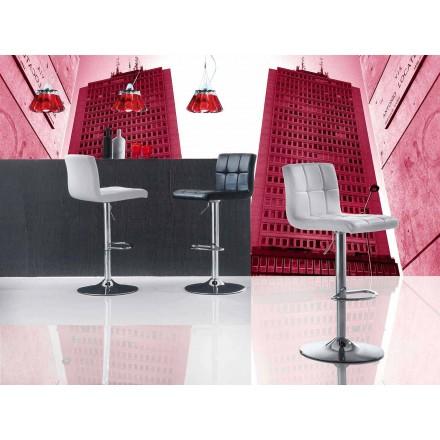 Taburete elevable de diseño moderno, asiento de cuero ecológico - Delfina