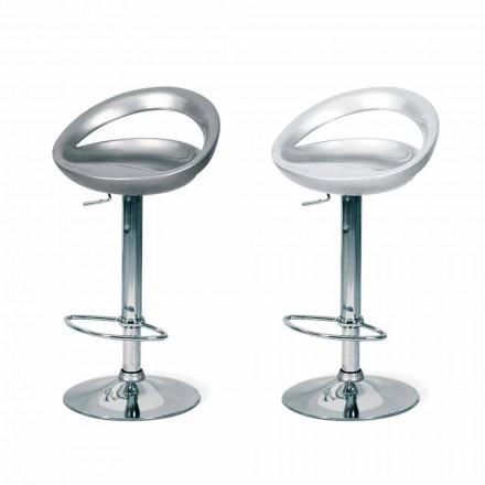 Taburete de diseño con asiento Abs y estructura cromada Pollina