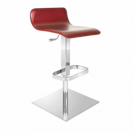 Taburete de diseño con asiento ajustable y base de cromo Inigo