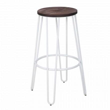 Taburete estilo industrial de diseño moderno en madera y hierro, 2 piezas - Belia