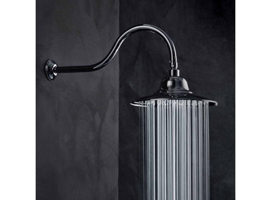 Cabezal de ducha clásico de acero con brazo de ducha de latón Made in Italy - Jeko