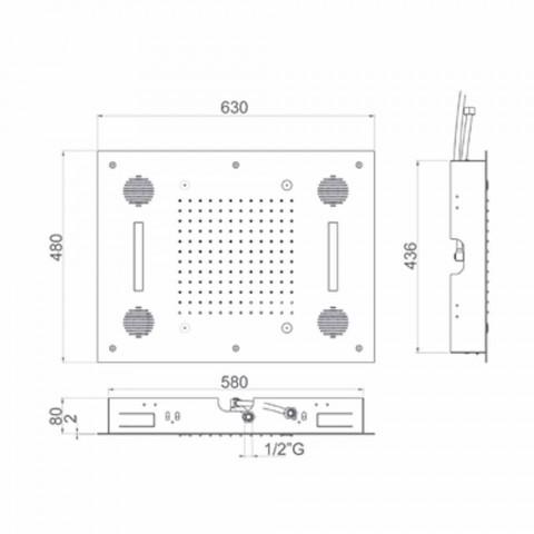 Cabezal de ducha de acero con cromoterapia y Bluetooth Made in Italy - Elbo