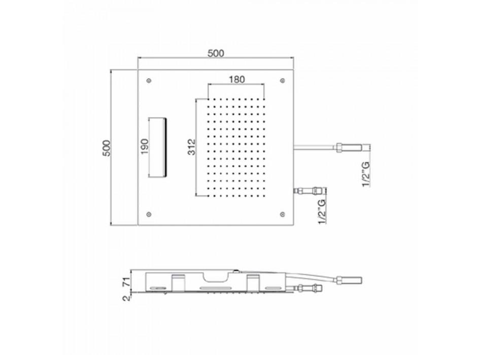 Cabezal de ducha cuadrado de acero inoxidable con doble chorro Made in Italy - Nello
