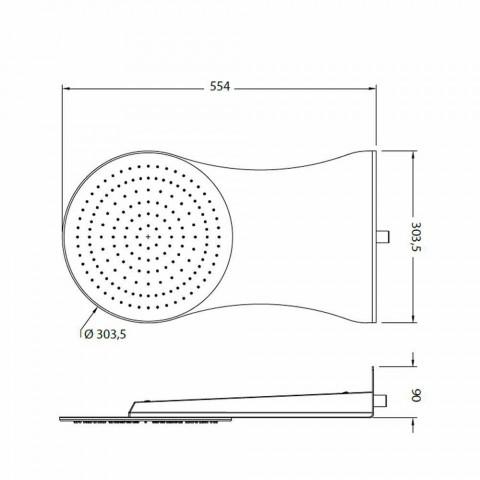 Cabezal de ducha de pared redonda en acero cromado Made in Italy - Alamo