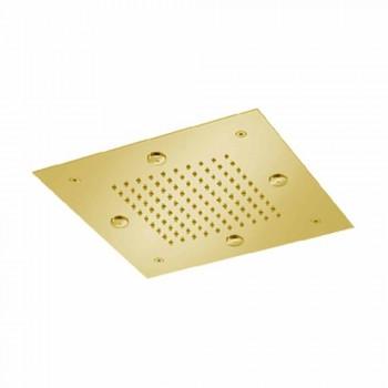 Cabezal de ducha de acero con chorro de lluvia y nebulizadores Made in Italy - Selmo