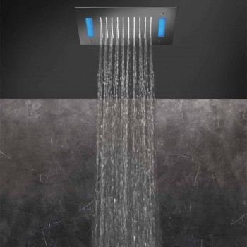 Cabezal de ducha de un solo chorro de acero inoxidable con cromoterapia LED Made in Italy - Sauron
