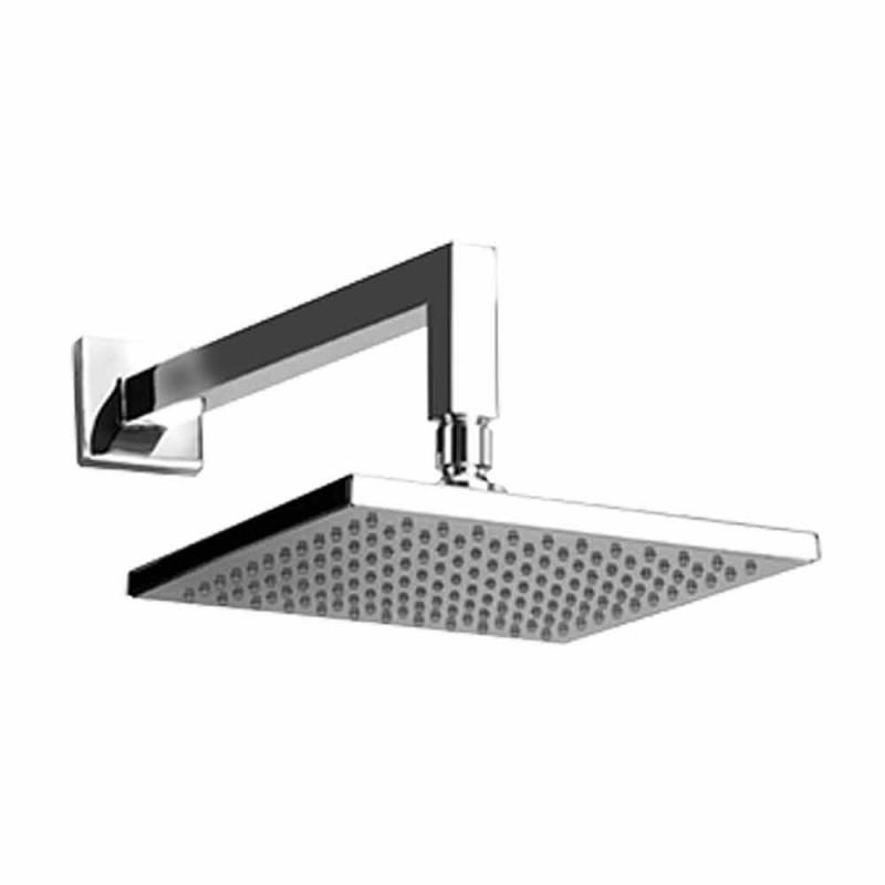 Cabezal de ducha cuadrado de acero con brazo de ducha de latón Made in Italy - Sespo