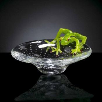 Bandeja pequeña con adorno de rana de cristal Made in Italy - Sossio
